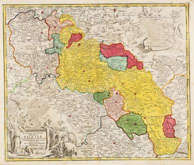 Antique Maps, Homann, Poland, Silesia, Breslau, Wroclaw, 1720: Superioris et Inferioris Ducatus Silesiae in suos XVII Minores Principatus et Dominia Divisi Nova Tabula ...