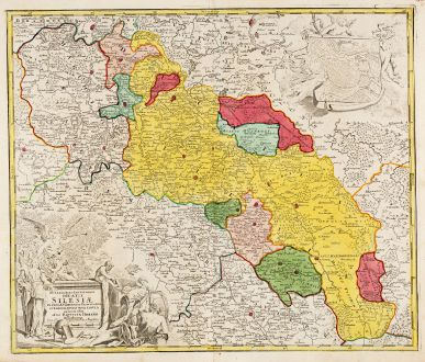 Antike Landkarten, Homann, Polen, Breslau, Wroclaw, Schlesien, 1720: Superioris et Inferioris Ducatus Silesiae in suos XVII Minores Principatus et Dominia Divisi Nova Tabula ...