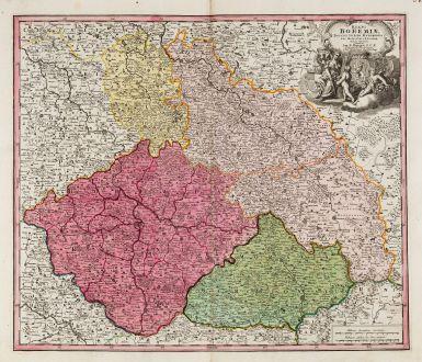 Antike Landkarten, Homann, Tschechien - Böhmen, Breslau, Wroclaw, Schlesien: Regni Bohemiae, Ducatus Silesiae, Marchionatus Moraviae et Lusatiae. Tabula Generalis