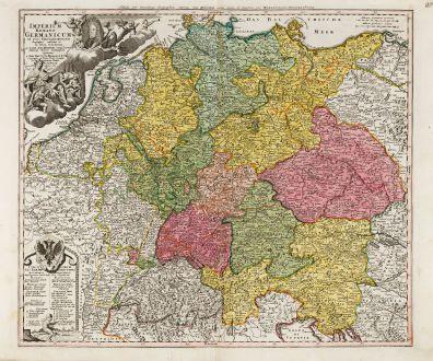 Antike Landkarten, Homann, Deutschland, Mitteleuropa, 1720: Imperium Romano-Germanicum in suos Circulos Divisum