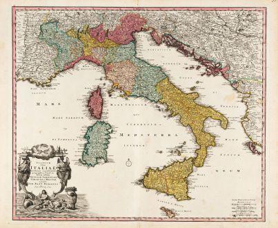 Antike Landkarten, Homann, Italien, 1720: Statuum Totius Italiae Novissima Repraesentatio Geographica ...