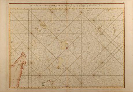 Antique Maps, Mannevillette, East Africa, Seychelles, 1775: Carte réduite de l'Archipel du Nord-Est de l'Isle Madagascar depuis la lingne Equinoctiale jusqu'au 21d.30m. de Latitude...