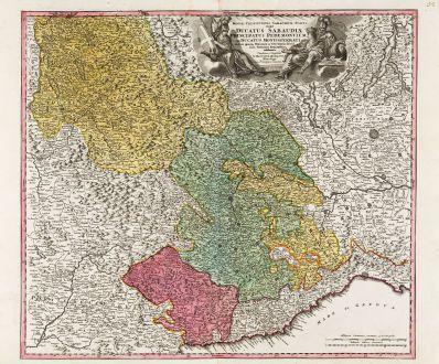 Antike Landkarten, Homann, Italien, Ligurien, Piemont, 1720: Regiae Celsitudinis Sabaudicae Status in quo Ducatus Sabaudiae, Principatus Pedemontium et Ducatus Montisferrati ...