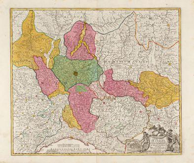 Antike Landkarten, Homann, Italien, Lombardei, Lombardia, 1720: Belli Typus In Italia vicricis Aquilae progressus In Statu Mediolanensi Et Ducatu Mantuae ... Anno 1702