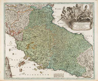 Antike Landkarten, Homann, Italien, Toskana, Latium, Umbrien, Marken, 1720: Status Ecclesiastici Magnique Ducatus Florentini Nova Exhibitio ...