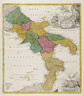 Antike Landkarten, Homann, Italien, Kalabrien, Apulien, Basilikata, Kampanien: Novissima & Exactissima Totius Regni Neapolis Tabula ...
