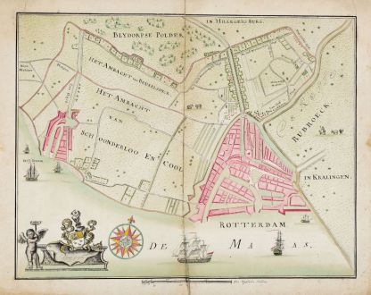 Antique Maps, de La Rocque, Low Countries, Delfshaven, Rotterdam, 1760: Rotterdam