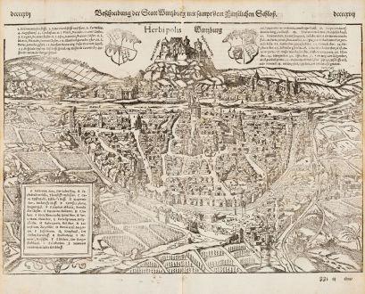 Antike Landkarten, Münster, Deutschland, Bayern, Würzburg, 1574: Beschreibung der Statt Wirtzburg mit sampt dem fürstlichen Schloß - Herbipolis - Wirtzburg
