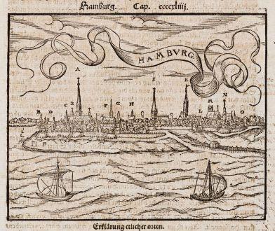 Antike Landkarten, Münster, Deutschland, Hamburg, 1574: Hamburg - Hambvrg
