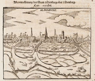 Antique Maps, Münster, Germany, Lower Saxony, Stade, 1574: Aldenburg [Aldenbvrg]