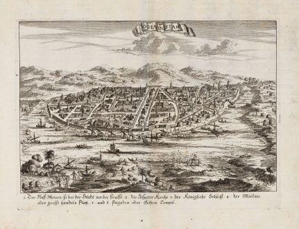 Antike Landkarten, Haffner, Südost Asien, Thailand, Siam, Ayutthaya, 1700: Odia in Siam