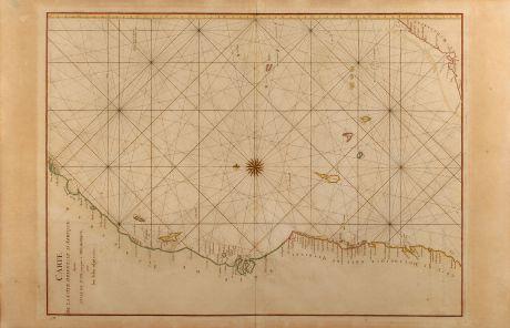 Antique Maps, Mannevillette, East Africa, Sea Chart, East Africa, Madagascar, Mozambique: Carte de la Côte orientale d'Afrique, depuis l'Isle de Patte jusque à Mocambique avec les Isles adjacentes