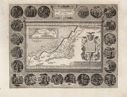 Antike Landkarten, Ortelius, Heiliges Land, Israel und Abraham, 1595: Abrahami Patriarchae Peregrinatio, et Vita