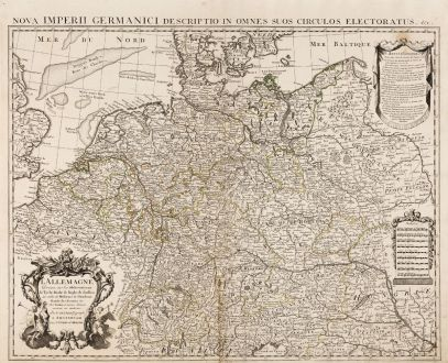 Antike Landkarten, de l Isle, Deutschland, 1745: L' Allemagne, Dressee sur les Observations de Tycho-Brahe, de Kepler, de Snellius, sur celles de Messieurs de l' Academie...