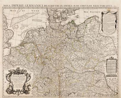 Antique Maps, de l Isle, Germany, 1745: L' Allemagne, Dressee sur les Observations de Tycho-Brahe, de Kepler, de Snellius, sur celles de Messieurs de l' Academie...
