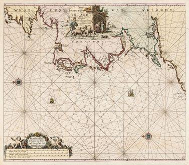 Antike Landkarten, van Keulen, Irland, Westküste Irlands, 1681: Paskaart van de West Cust van Yrlandt beginnnende van Klady tot aen de Blasques ...