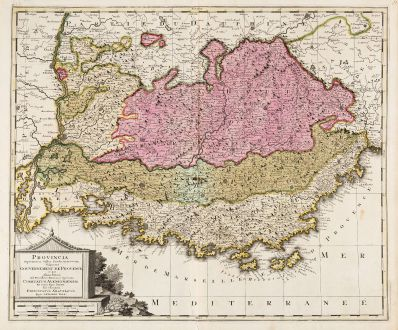 Antique Maps, Valk, France, Cote d Azur, Provence, 1700: Provincia Supremarum Galliae Praefecturarum una Vulgariter Gouvernement de Provence ...