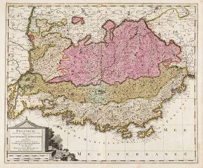 Antike Landkarten, Valk, Frankreich, Cote d Azur, Provence, 1700: Provincia Supremarum Galliae Praefecturarum una Vulgariter Gouvernement de Provence ...