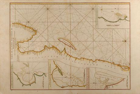 Antique Maps, Mannevillette, East Africa, Sea Chart, Indian Ocean, Madagascar: Carte de la Côte orientale de Madagascar, depuis la Pointe de l'Est jusques et compris le Lac Nossé Bé