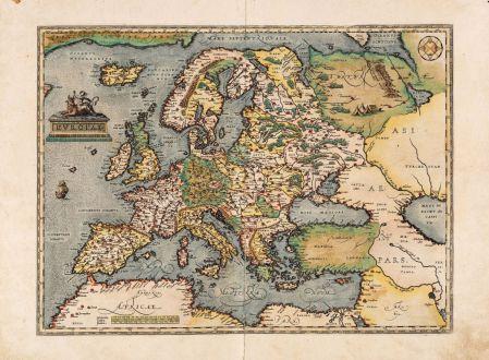 Antike Landkarten, Ortelius, Europa Kontinent, 1584: Europae