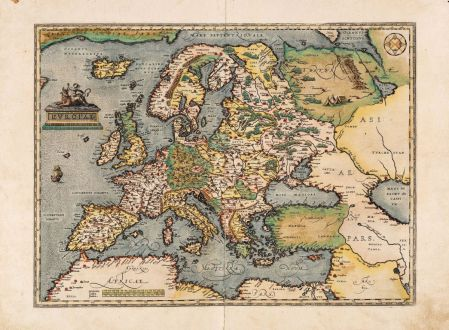 Antique Maps, Ortelius, Europe Continent, 1584: Europae