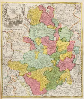 Antique Maps, Homann, Germany, Lower Saxony, North Rhine-Westphalia, 1720: Circuli Westphaliae in Omnes suos Status et Provincias