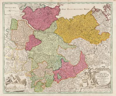 Antike Landkarten, Homann, Deutschland, Hamburg, Niedersachsen, Norddeutschland: Circulus Saxoniae Inferioris in omnes suos Status et Principatus