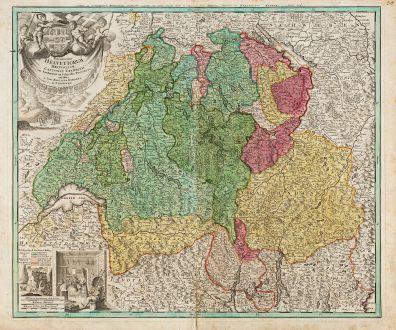 Antique Maps, Homann, Switzerland, 1720: Potentissimae Helvetiorum Reipublicae Cantones Tredecim cum Foederatis et Subjectis Provinciis