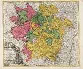 Old coloured map of the Lorraine. Printed in Nuremberg by Johann Baptist Homann circa 1720.