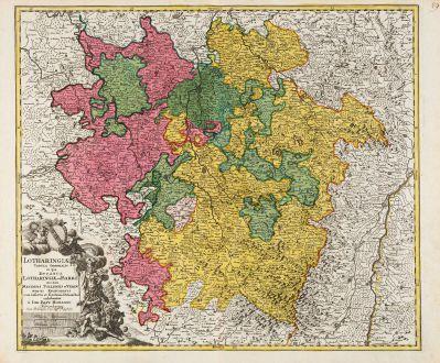 Antike Landkarten, Homann, Frankreich, Lothringen, 1720: Lotharingiae Tabula Generalis in qua Ducatus Lotharingiae et Barri nec non Metensis, Tullensis et Verdunensis Episcopatus
