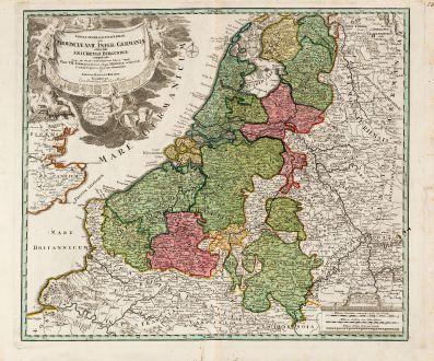 Antike Landkarten, Homann, Benelux, 1720: Tabula generalis totius Belgii qua Provinciae XVII Infer. Germania olim sub S.R.I. Circula Burgundiae ...
