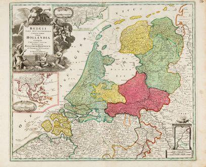 Antike Landkarten, Homann, Niederlande, New York, Jakarta, 1720: Belgii Pars Septentrionalis Communi Nomine vulgo Hollandia ... / Batavorum Coloniae Occidential Indiis Septentrionalis...