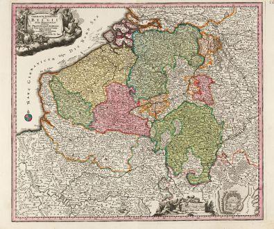 Antike Landkarten, Seutter, Belgien, 1720: Germaniae Inferioris sive Belgii Pars Meridionalis Exhibens X Provincias Catholic ...
