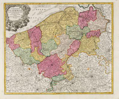 Antike Landkarten, Homann, Belgien, Flandern (Vlaanderen), 1720: Comitatus Flandriae in omnes ejusdem subjacentes Ditioes cum adjacentibus accuratissime divisus sumtibus