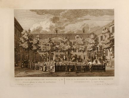 Antique Maps, Fouquet, Netherlands, Amsterdam, Luthersche Weeshuys, 1775: Gezicht van het Luthersche Weeshuys