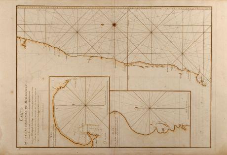 Antique Maps, Mannevillette, East Africa, Sea Chart, Indian Ocean, South Madagascar: Carte de la Côte orientale de Madagascar depuis Mananzari jusques et compris l'anse du Fort Dauphin
