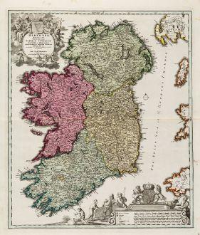 Antike Landkarten, Homann, Irland, 1720: Hiberniae Regnum tam in Praecipuas Ultoniae, Connaciae, Laceniae et Momoniae quam in Minores Earundem Provincias ...