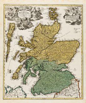 Antike Landkarten, Homann, Britische Inseln, Schottland, 1720: Magnae Britanniae Pars Septentrionalis qua Regnum Scotiae ...