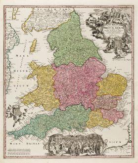 Antike Landkarten, Homann, Britische Inseln, England, 1720: Magnae Britanniae Pars Meridionalis in qua Regnum Angliae tam in Septem Antiqua Anglo-Saxonum Regna ...