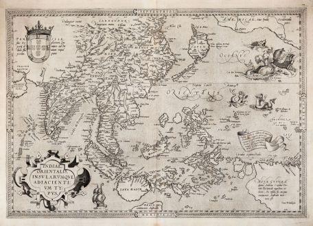 Antike Landkarten, Ortelius, Südost Asien, 1570: Indiae Orientalis Insularumque Adiacientium Typus