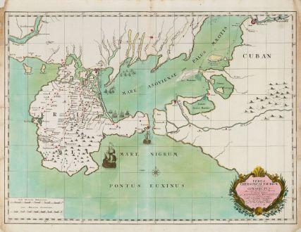 Antike Landkarten, du Chaffat, Ukraine, Russisch-Türkischer Krieg, Krim, 1740: Verus Chersonesi Tauricae Seu Crimea Conspectus ... [and] Theatrum Belli Ao MDCCXXXVII ... [and] Explicatio Duarum Tabularum...