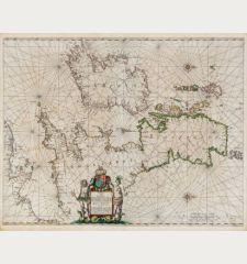 Pascaart vant Canaal tusschen Engelant en Vrancryck, alsmede geheel Ierlant en Schotlant ... Tabula Hydrographica Freti seu...
