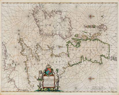 Antike Landkarten, Janssonius, Britische Inseln, 1650: Pascaart vant Canaal tusschen Engelant en Vrancryck, alsmede geheel Ierlant en Schotlant ... Tabula Hydrographica Freti seu...
