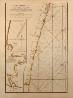 Antique Maps, Mannevillette, Sea Chart, Indian Ocean, East Madagascar, 1775: Cote Orientale de Madagascar Depuis la Riviere d'Ivondrou jusqu'à Mananzari