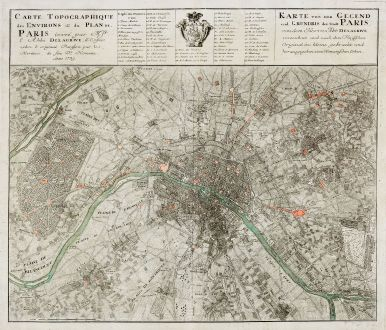 Antike Landkarten, Homann Erben, Frankreich, Ile-de-France, Paris, 1739: Carte Topographique des Environs & du Plan de Paris ... Karte von der Gegend und Gundris der Stadt Paris ...