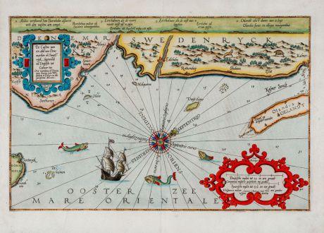 Antique Maps, Waghenaer, Sweden, 1588: De Custen van Een Deel van Denmarken en Swederijk, Beginnede va Vuijtste tot Calmer toe. Orae maritimae tu Daniae, tum...