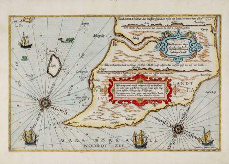 Antike Landkarten, Waghenaer, Dänemark, Jütland, 1588: Beschrijuinge vande wterste omlopende custe van Judtlandt aen weder zijden op de Belt en Noortzee ... Orae extremae marinae...