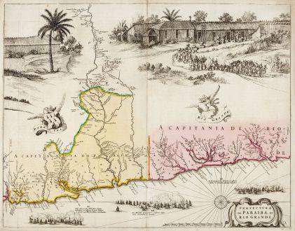 Antike Landkarten, Blaeu, Südamerika, Brasilien, Paraiba, Rio Grande do Norte: Praefecturae de Paraiba, et Rio Grande