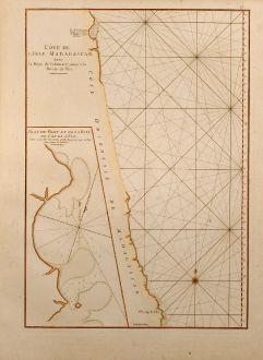 Antique Maps, Mannevillette, Sea Chart, East Madagascar, 1775: Côte de L'Isle Madagascar depuis la Baye de Vohemare jusqu'à la Pointe de l'Est