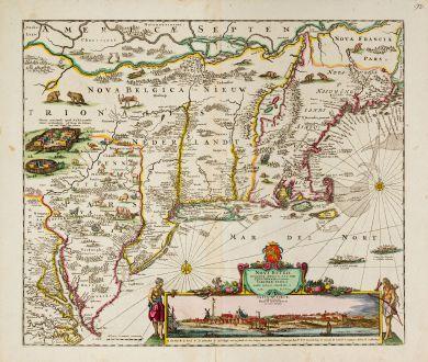 Antike Landkarten, Danckerts, Nordamerika, Neuengland, Virginia, New York, 1690: Novi Belgii Novaeque Angliae nec non Pennsylvaniae et Partis Virginiae Tabula ...
